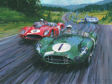 Moss - Master of the Nuerburgring, Aston Martin and Ferrari Motorsport art by Nicholas Watts