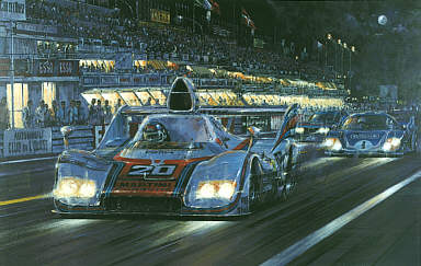 Automobile Art Watts Nicholas Racers Moon Le Mans 1976