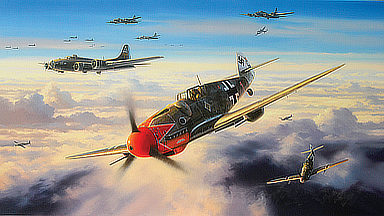 Crimson Eagle - Messerschmitt Bf-109 of Hermann Graf JG 50 Aviation Art by Nicolas-Trudgian