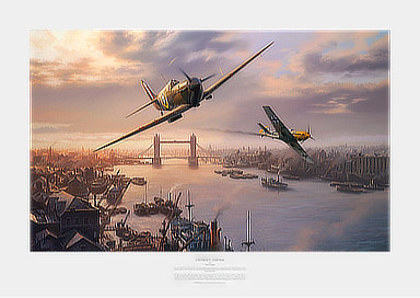 London Pride - Spitfire and Bf-109E dogfight over the Tower Bridge - Aviation Art by Nicolas Trudgian