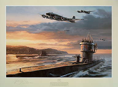 Sea Wolves, Erich Topp U-552 St Nazaire naval art print by Nicolas Trudgian