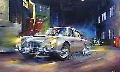Barreling Along - James Bond Aston Martin DB5 Automobile Art by Paul Dove