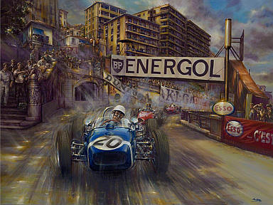 Catch Me If You Can - Stirling Moss Monaco Grand Prix 1961, Motorsport Art by Paul Dove