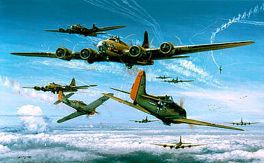 Final Encounter, Fw-190 and Boeing B-17 aviation art print by Philip West