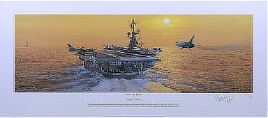 Honor the Brave - RF-8G Crusader landing on USS Coral Sea - Naval Aviation Art by Philip E. West