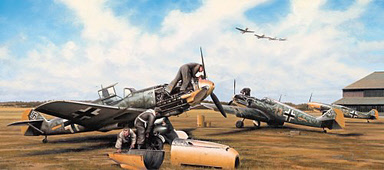 Fine Tuning, Messerschmitt Bf 109 of JG52 aviation art by Richard Taylor