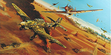 Desert Vulture, Ju-87B Stuka and Hawker Hurricane aviation art by Robert