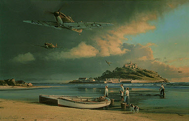 A Time for Heroes, Spitfires over St. Michael's Mount aviation art by Robert Taylor
