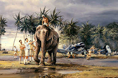 Puttalam Elephants, F4U Corsair flight operations in Ceylon aviation art print by Robert Taylor