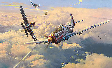 Struggle for Superemacy - P-51 Mustang and Bf-109 Aviation Art by Robert Taylor