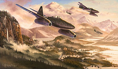The Hunting Party - Messerschmitt Me-261 of JV 44 - Aviation Art by Stephen Brown