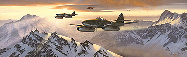 The Sun Sets on the Reich, Me-262 Squadron of Experts aviation art print by Stephen Brown