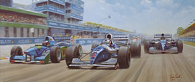 Duel in the Sun - Schumacher, Hill and Mansell F1 motorsport art print by Tony Smith