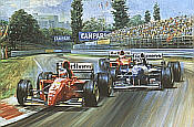 Alesi Ferrari 105, Ferrari 412T2 art print by Alan Fearnley