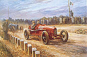 Birth of the Prancing Horse, Enzo Ferrari motorsport art print by Alan Fearnley