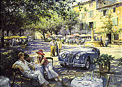 Cat Nap in Provence, Jaguar XK 140 automobile art by Alan Fearnley
