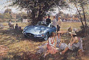 E-Type-Anniversary, Jaguar E-Type Automobil-Kunstdruck von Alan Fearnley