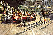 Early Start, Lancia-Ferrari D50A F1 motorsport art print by Alan Fearnley