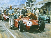 Fangio 1956, Lancia-Ferrari D50 F1 motorsport art print by Alan Fearnley
