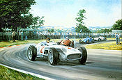 Fangio, Mercedes W196 F1 Motorsport Kunstdruck von Alan Fearnley