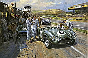 Feltham Flyers, Aston Martin DB35 Goodwood motorsport art print by Alan Fearnley