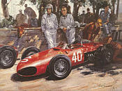 Ferrari Team Mates, von Trips and Hill F1 motorsport art print by Alan Fearnley