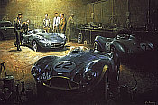 New Kid on the Block, Aston Martin DBR1 motorsport art print by Alan Fearnley