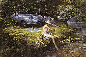 Summer of 62, Jaguar E-Type automobile art by Alan Fearnley