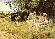 The Four of Us, L2 Magna classic car art print by Alan Fearnley
