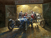 The Wee Small Hours, Alta Single Seater and Riley Brooklands automotive art print by Alan Fearnley