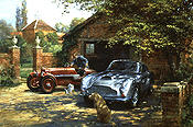 Thoroughbred Stable, Aston Martin DB4-GT and Aston Martin Ulster 1500 automobile art by Alan Fearnley