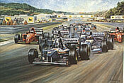 Triple Achievement, David Coulthard Williams Renault Formula One art print by Alan Fearnley