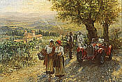 Tuscan Evening, Alfa Romeo Zagato automobile art print by Alan Fearnley