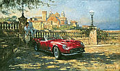 Vista-Bella, Ferrari 250 Spider California automobile art print by Alan Fearnley