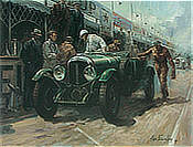 Winners-Pit-Stop, Bentley Speed Six in Le Mans art print by Alan Fearnley