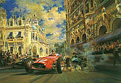 Dicing at Casino Square, Fangio Maserati 250 motorsport art print by Alfredo De la Maria