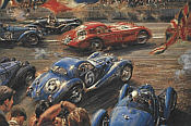 Flying Colors, Le Mans 1938 motorsport art print by Alfredo De la Maria