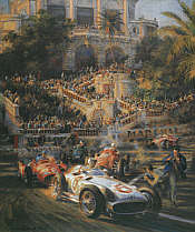 Lucky for Some, Stirling Moss Mercedes W196 Monaco Grand Prix F1 motorsport art print by Alfredo De la Maria