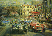 Monaco Grand Prix 1952, Jaguar C-Type and Ferrari 340 motorsport art print by Alfredo De la Maria