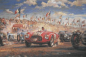 Triple First, Le Mans 1949 motorsport art print by Alfredo De la Maria
