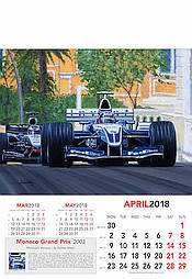 F1 Kunst Kalender Grand Prix 2018 April Montoya Williams-BMW von Andrew Kitson