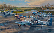 Checking Out - P-51 Mustangs 352nd Fighter Group, Aviation Art by Anthony-Saunders