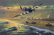Juno Beach, Spitfire aviation art print by Anthony Saunders