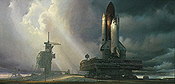 Cape Winds - Space Shuttle on the Launch Pad art print
