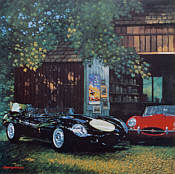 Beauty and the Beast, Jaguar D-Type and E-Type art print by Barry Rowe