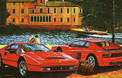 Ferrari 328 GTB and Testarossa automobile art print by Barry Rowe