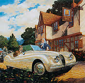 The Golden Years - Jaguar XK120 automobile art print by Barry Rowe