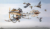 Migrating - Ultralight pilot flies with migration birds - Aviation Art with Humor by Chris Bazeley