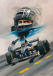 Coming Out Fighting, Damon Hill Williams F1 motorsport art print by Colin Carter