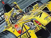 Farewell to a Champion, Damon Hill Jordan F1 motorsport art print by Colin Carter